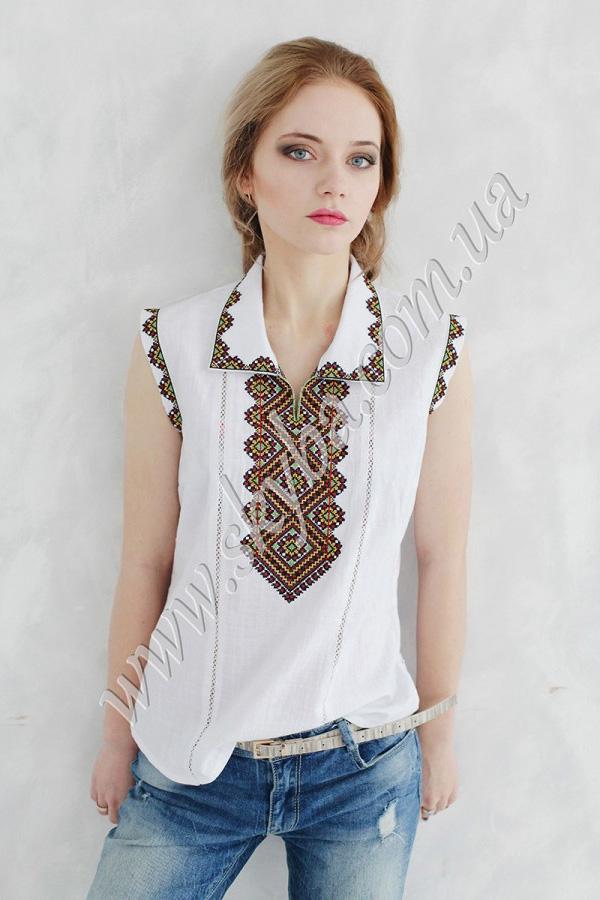 Жіноча сорочка на довгий рукав з вишитим рукавом в орнаменті «виноград» f8086d6a9915a