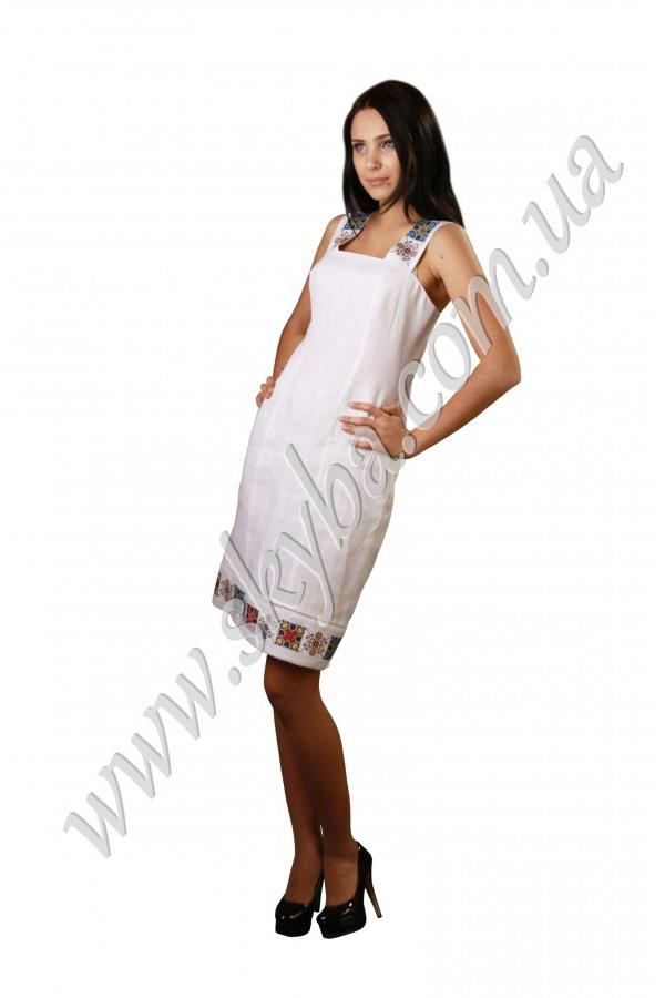 Женский сарафан СК6033 с вышивкой на толстых бретелях