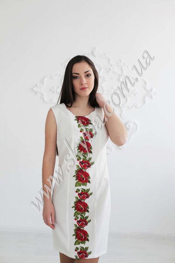 Жіноча сукня СК6118 з вишивкою у вигляді квітів маку