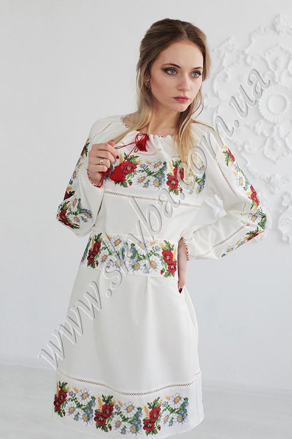 """Женское платье СК6122 с орнаментом """"полевые цветы"""""""