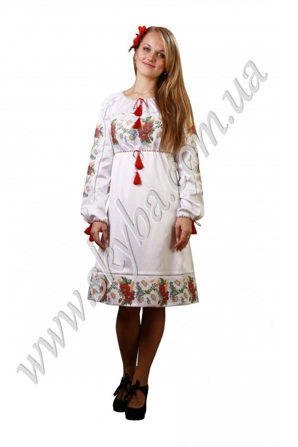 Женское платье СК6124 на длинный рукав с цветочным орнаментом