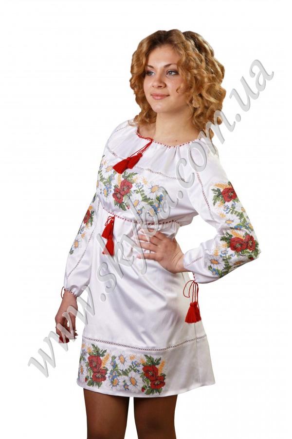 Женское платье СК6125 с вышитыми красочными цветами