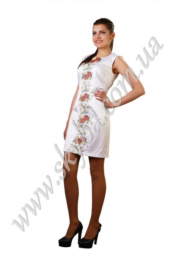 Женское платье СК6127 с цветочной вышивкой по всей длинне