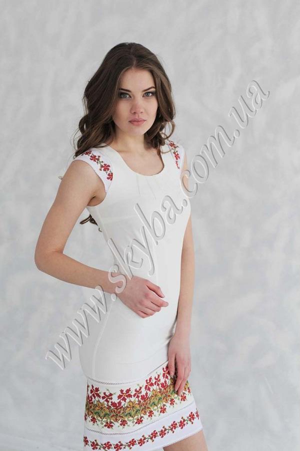 Жіноча сукня СК6131 приталена з уквітчаним подолом