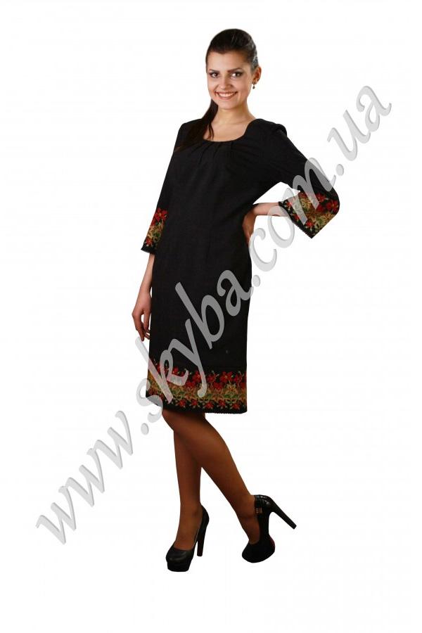Женское платье СК6132 с вышивкой и драпировкой