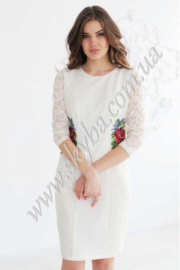 Женское платье СК6212 с кружевными вставками