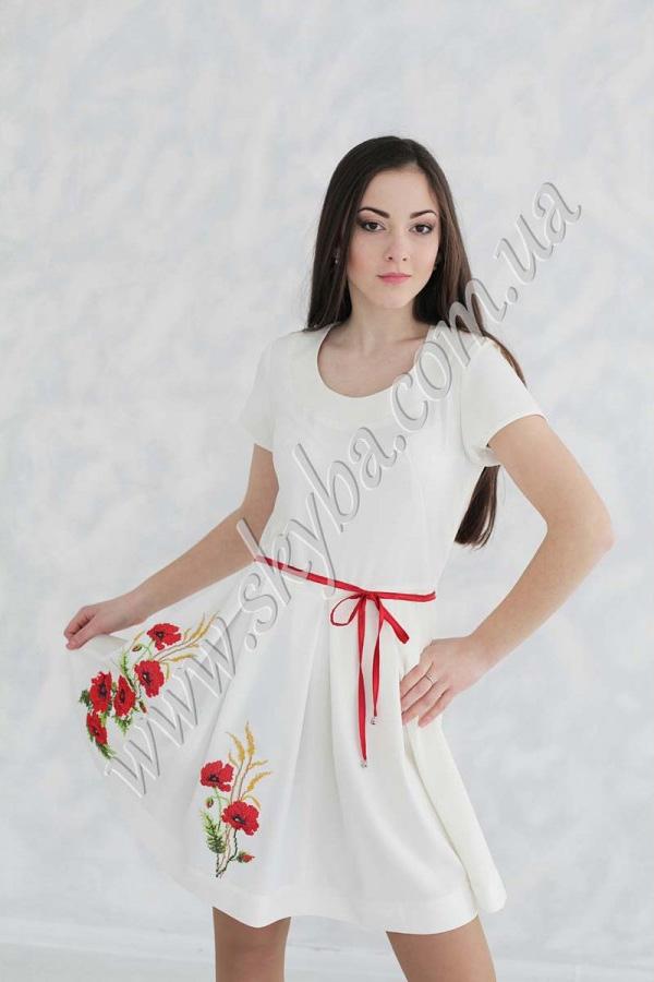 """Женское платье СК6282 с орнаментом """"маки"""""""
