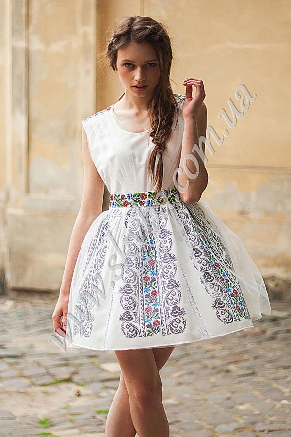 Жіноча сукня СК6335 з фатіном та уквітчаними вставками 34ca945f81f34
