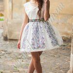 Женское платье СК6335 с фатином и цветочными вставками