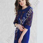 Женское платье СК6341 с обильной вышивкой на рукавах
