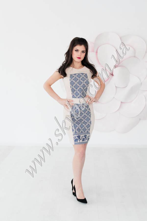 Женское платье СК6172 с крупным дизайнерским рисунком