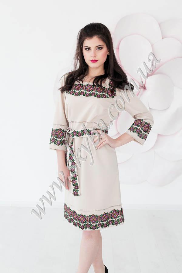 Женское платье СК6191 с рукавом 3/4 и поясом.