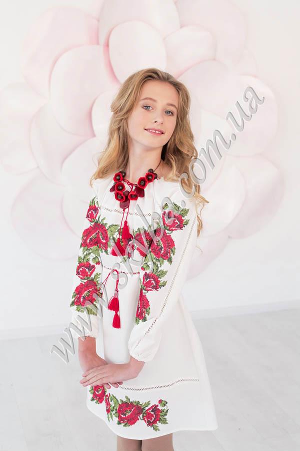 Сукня для дівчаток c вишитими маками на довгий рукав у Львові 2488581c18c33